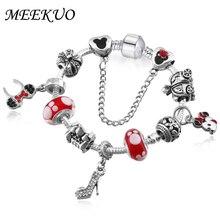 MEEKUO Wholesale 2017 DIY Bead Mickey pan Bracelets & Bangles for Women bracelet Jewellery BL102