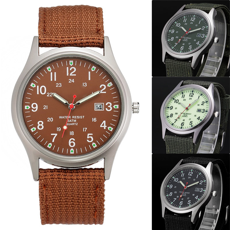 Fashion Men Military Watch Canvas Quartz Analog Clock Wristband Sports Army Waterproof Wristwatch For Couple Gift  LL@17 fashion sport outdoor men s date quartz analog wristwatch military sports nylon strap unisex army style watch homme relojo p15