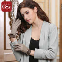 GSG High Quality Ladies Sheepskin Leather Gray Gloves with Bow-knot Contrast Color Lambskin Gloves Ladies Winter Glove