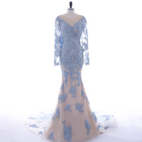 Evening Dresses Long Scoop Appliques Mermaid Evening Dress With Big Bow Long Sleeve Evening Gowns 2017