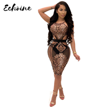 Echoine Women Halter Sequined Night Club See Through Dress Sexy Sleeveless High Waist Cutout Party Dresses Vestidos Gold Red