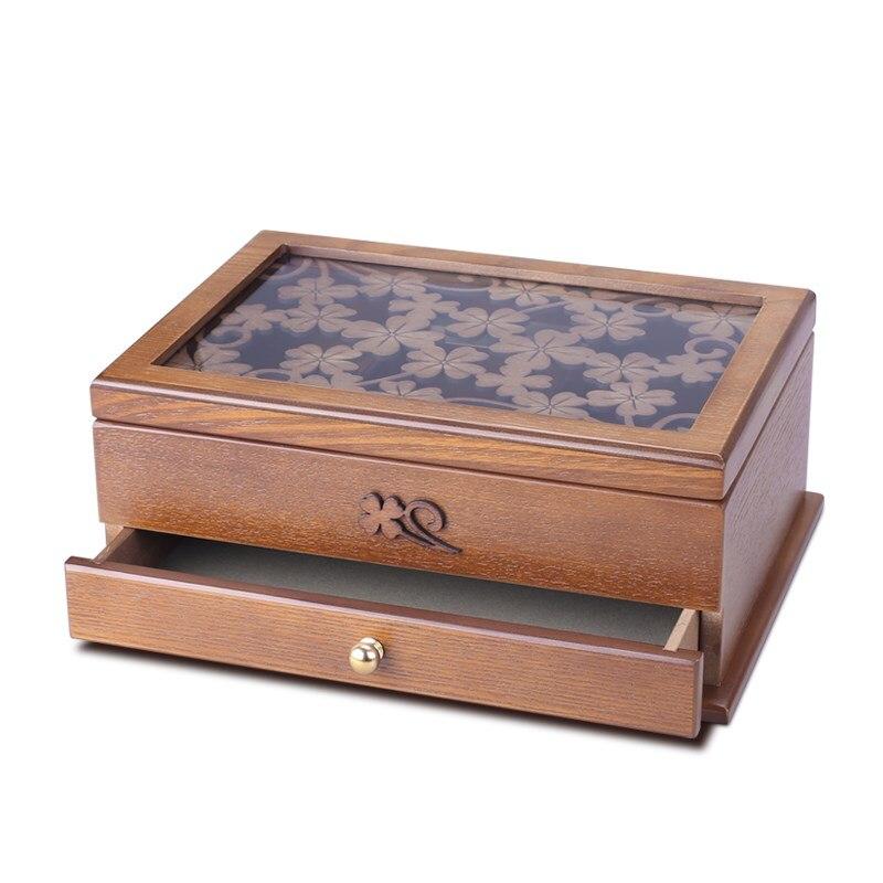 Boîte à bijoux en bois boîte à bijoux européenne rétro sculpté à la main boîte de rangement tiroir bureau rangement finition portable boîte en bois