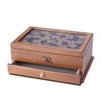 Jewelry box wooden European jewelry box retro hand carved storage box drawer desktop storage finishing portable wooden box