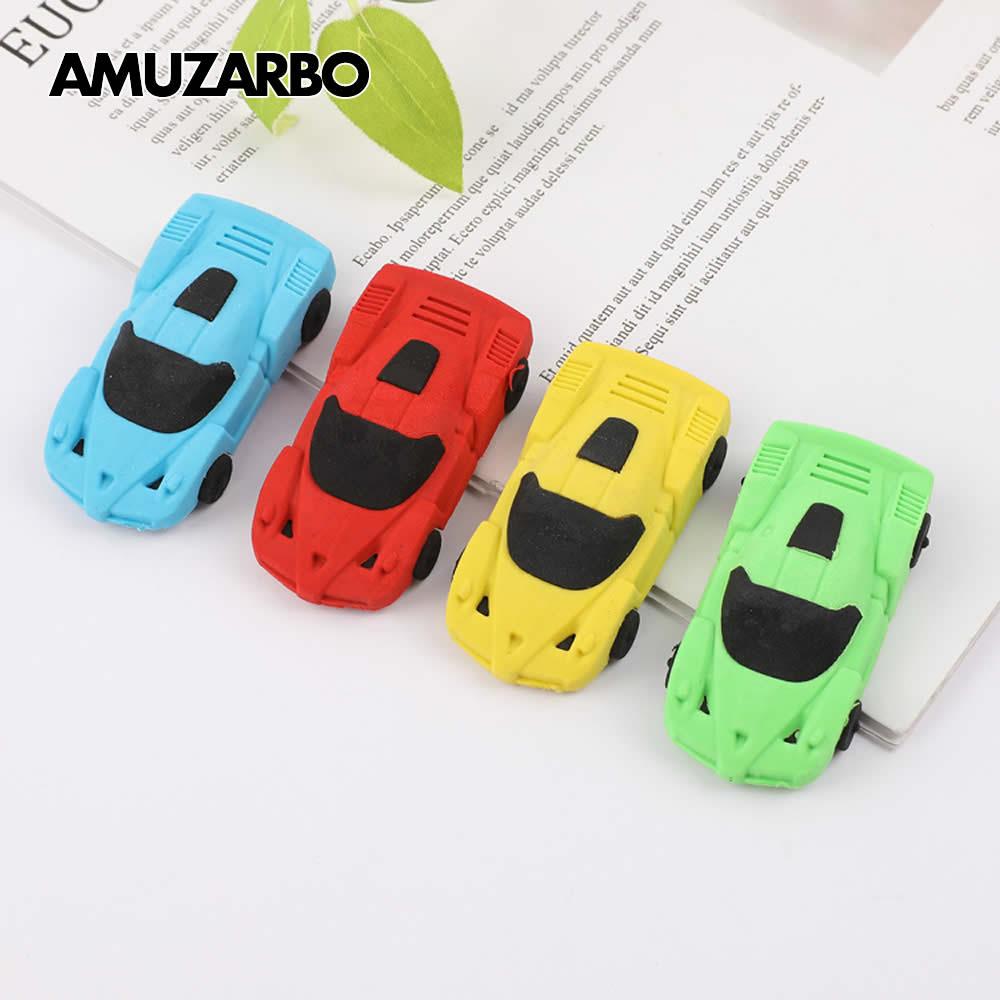 Cute Mini Detachable Cartoon Car Eraser Auto Eraser Blue Red Yellow Green For Kids School Supplies