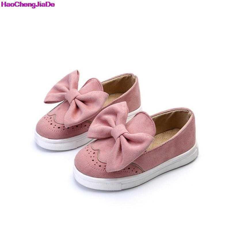 e781c514c HaoChengJiaDe 2018 Весенняя кожаная детская обувь для мальчиков и девочек  Mocassins модная принцесса Бант обувь для