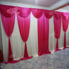 3m*6m Wedding Stage Backdrop with Beatiful Fuchsia Swag Wedding drape and curtain wedding decoration stage background