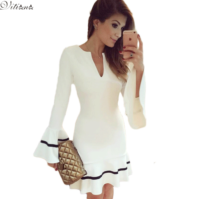 2016 New Fashion Womens Elegant Mermaid Tunic Party Dress Ladies Long Sleeve Sexy Pencil Sheath Bodycon Mini White Dress