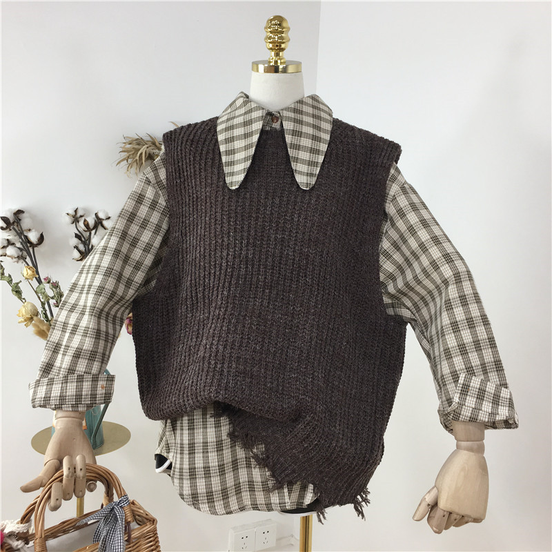Women Spring Fashion 2PC Shirt Sets Retro Long Sleeve Blouse&Knitted Tank Vests Student Girls Plaid Shirts Sweater Tops Suits