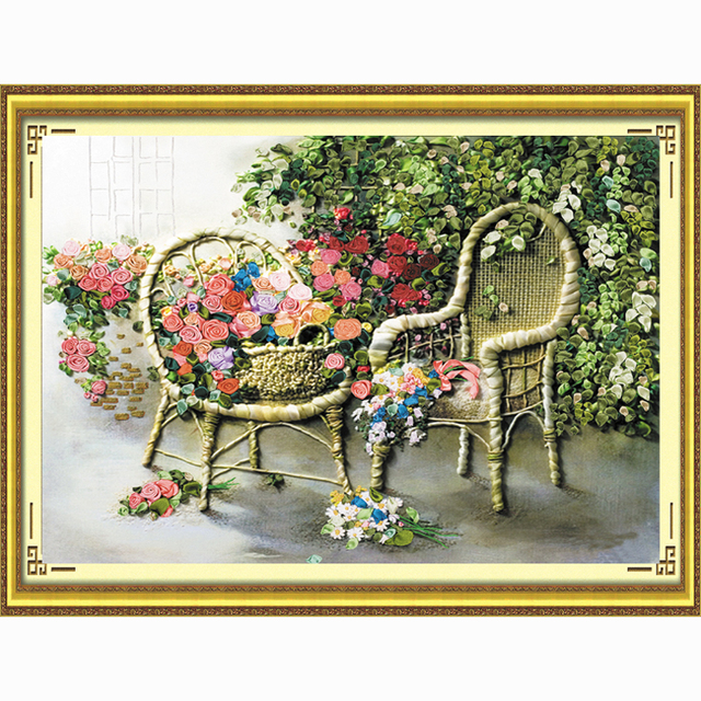 Ribbon embroidery 70X60cm new arrival fashion paintings furniture romantic rose 3d edge of the three-dimensional cross-stitch