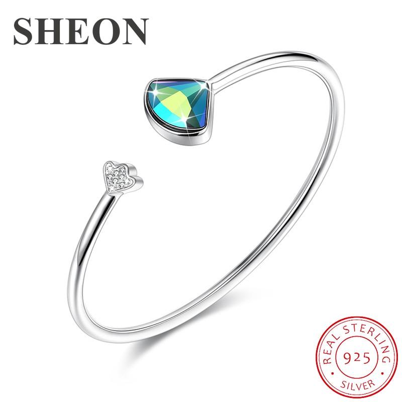 SHEON Genuine 100 925 Sterling Silver Blue Crystal Women Geometric Cuff Bangles Bracelets Fine Sterling Silver Jewelry in Bangles from Jewelry Accessories