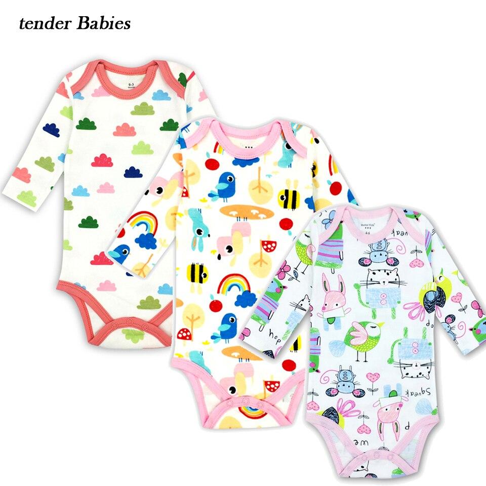 3 pcs/lot Bodysuits Cotton Toddler Boy Jumpsuit Newborn Clothes Long Sleeve Infant Winter Baby Bodysuit Set Ropa Kids Clothes