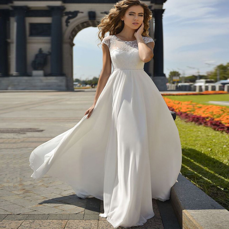 Adding Cap Sleeves Wedding Dress To: Cheap O Neck Sleeveless Lace Chiffon Beach Wedding Dress