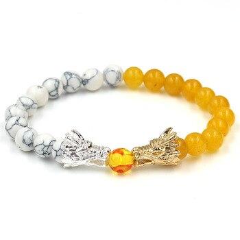 Natural Black Lava & White Howlite Stone Beads Bracelet Pulseira Masculina Mens Jewelry Buddha Dragon Bead Bracelet For Women 2