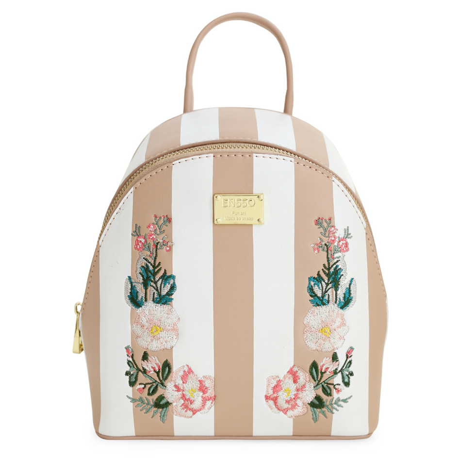 ENSSO New Arrival Stripe Japan Style Flower Prints Embroidery Rose Small Leather PU Girl's Book Bag Backpack Shoulder Bags new style pu leather flower pattern