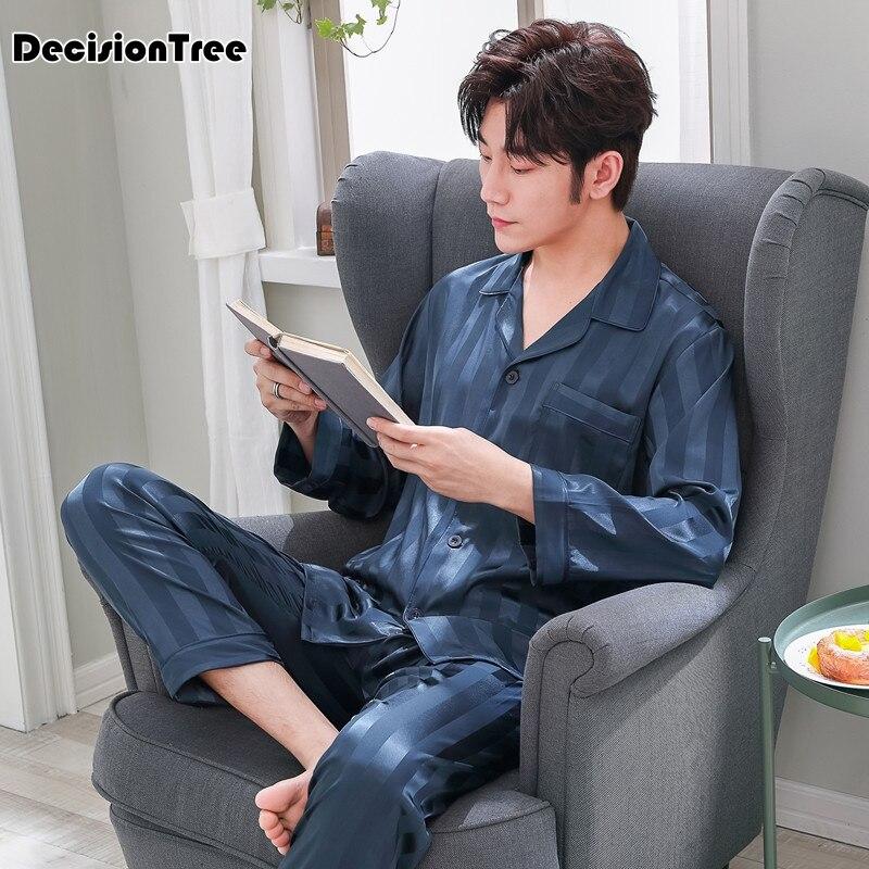 2019 Satin Silk Pajamas Long For Men Sleepwear Male Pajama Set Soft Nightgown For Men Pyjamas Sleep Lounge Big