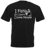 2018 Новое поступление модная летняя футболка из 100% хлопка Я рыбы, поэтому я не душить людей смешные рыбы футболка подарок сделать Рубашки для...