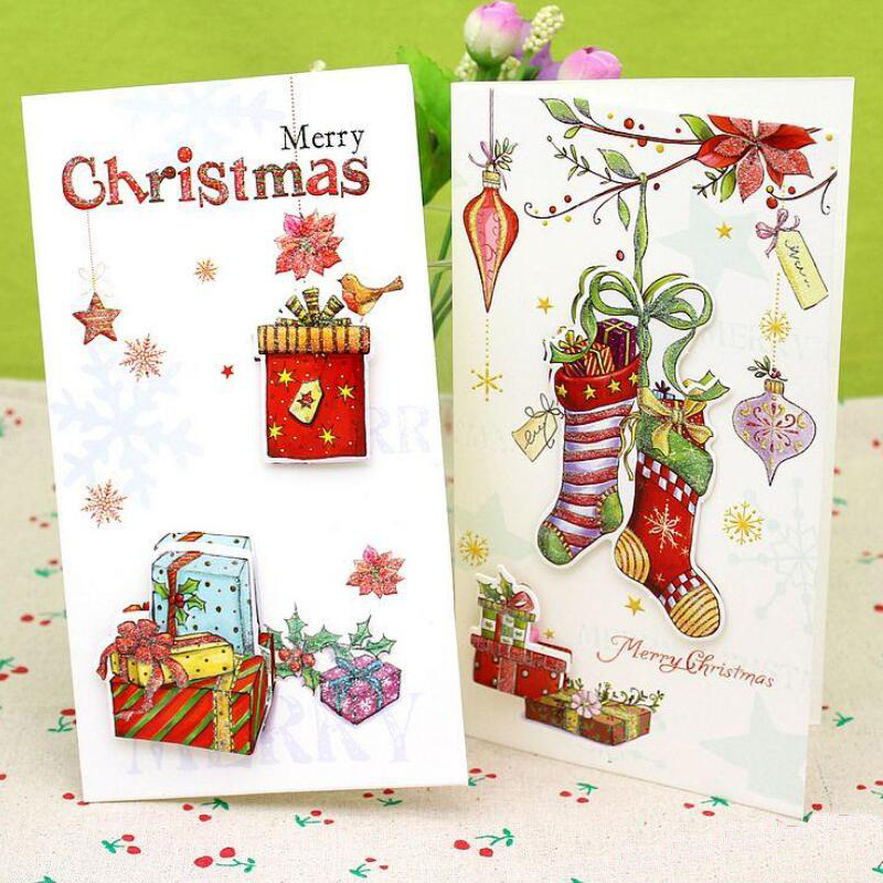 Merry Christmas Greeting Card And Gift Tag Set With Cute: 8 Pcs/lot 3d Printed Christmas Greeting Cards Merry