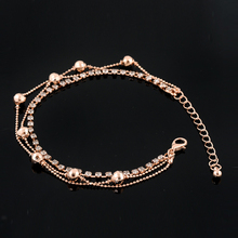 Free Shipping Beaded Barefoot Sandals 3 Layers 18k Rose Gold Plated Anklets For Women Crystal Ankle Bracelet Fine Jewelry RGB028