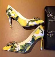 New Fashion Lemon Printed High Heel Shoes Pointed Toe Crystal Embellished Woman Pumps 2017 Flower Printed