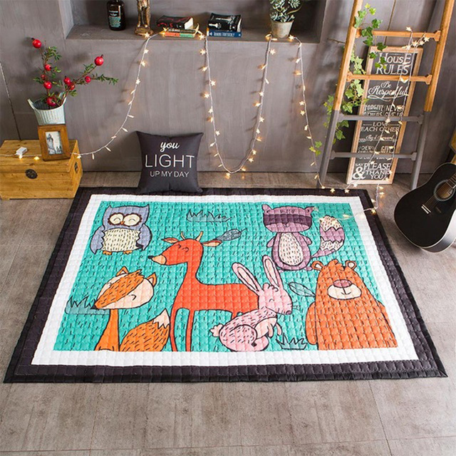 Animals Kids Rug Baby Play Mat In The Nursery Childrens Carpet Pad For Crawling Cartoon Room