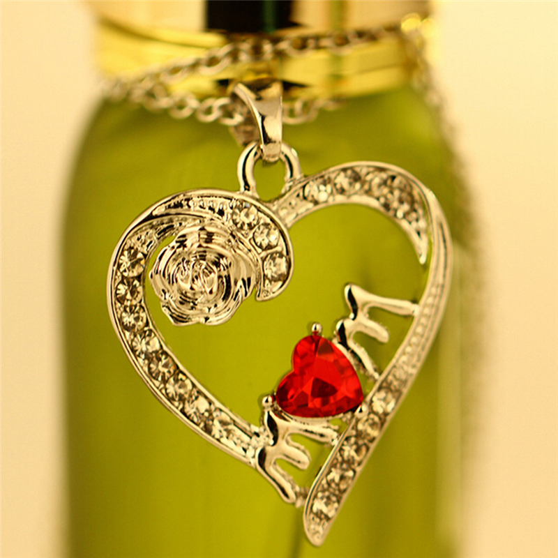 Charm Necklace for Mother's Day Gift Mom Friend Red Crystal Heart Necklace Pendant New Fashion Jewelry image