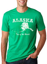 Alaska On Top Of The World T Shirt Funny State Tee Harajuku Tops t shirt Fashion Classic Unique free shipping