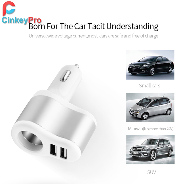 CinkeyPro Car-Charger Cigarette Lighter Car Charger Adapter 3.1A 2-Port USB Smart Mobile Phone Charging For iPhone 6 iPad XiaoMi