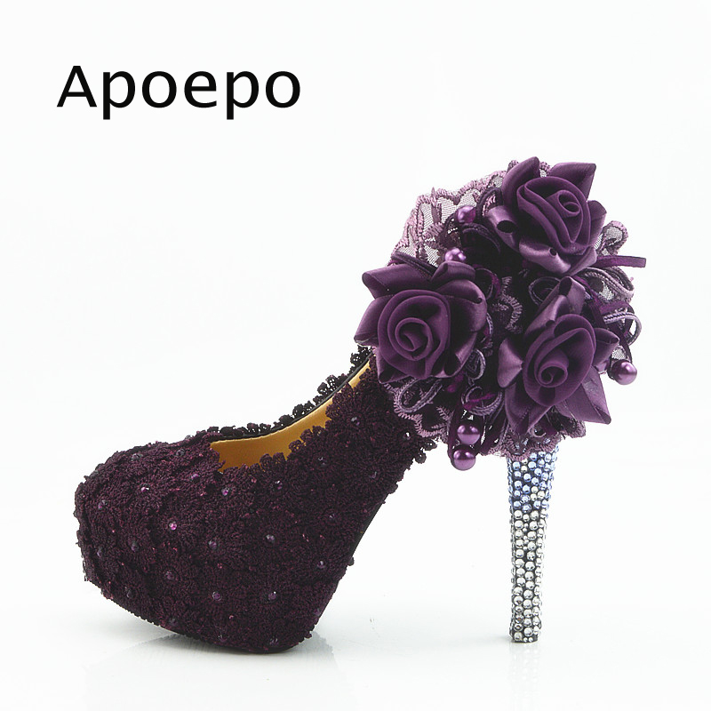 Apoepo Big Size Wedding Shoes 2018 Bling Bling Platform Pumps for Woman purple rose decorations high heel shoes the bride heels apoepo handmade wedding bride shoes bling bling crystal pregnant shoes 3 5 cm increased internal low heels shoes mary janes shoe