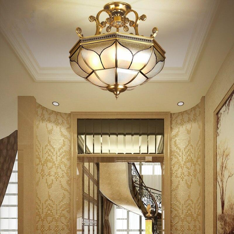 Free Shipping D51cm H59cm Home Decration 90 265V Bronze Glass Style Design Ceiling Lamp Copper Luster E27 LED Ceiling Lighting