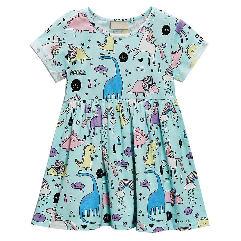 Girls Summer Dress Baby Girls Dress Unicorn Jurassic Dinosaur Printed Kids Dresses for Girls Clothing Princess Costume Child