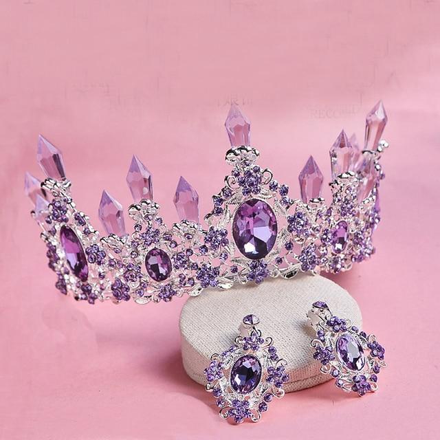 Classic Vintage Hair Accessories Elegant Big Purple Wedding Tiaras Large Crystal Bridal Jewelry Queen Crown