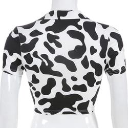 Sweetown Animal Print Kawaii Cropped Feminino Tshirt Women Korean Style V-Neck Cow T-Shirts Short Sleeve Hollow Sexy Summer Tops 4