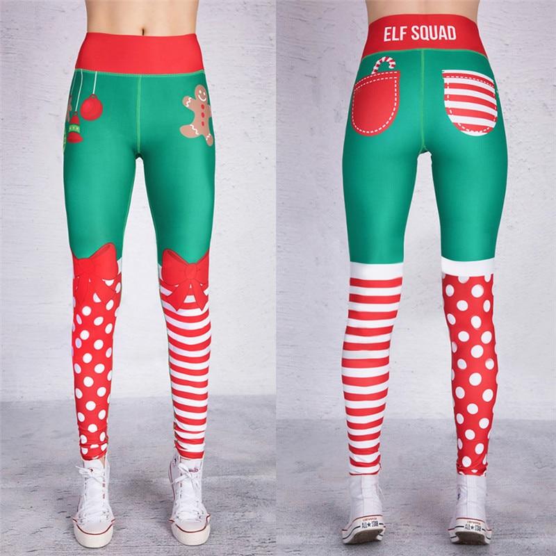 Dropshipping. exclusivo. 2018 Navidad polainas poner cadera elástico cintura alta Legging transpirable Feliz Navidad Pantalones