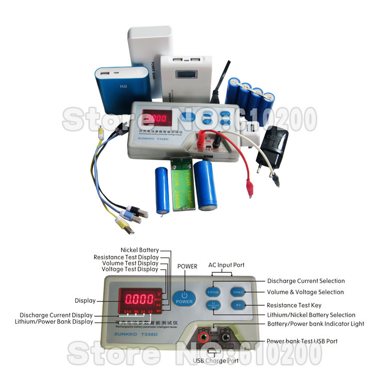 ФОТО Rechargeable battery parameters intelligent tester for lithium/nickel battery/Power Bank/Phone cable/Power Adapter/18560 battery