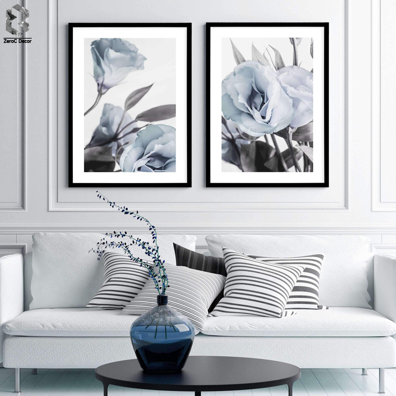 Blue Lisianthus Flowers Canvas Paintings Floral Posters Prints Valentines Gift Wall Art Pictures Bedroom Home Decor