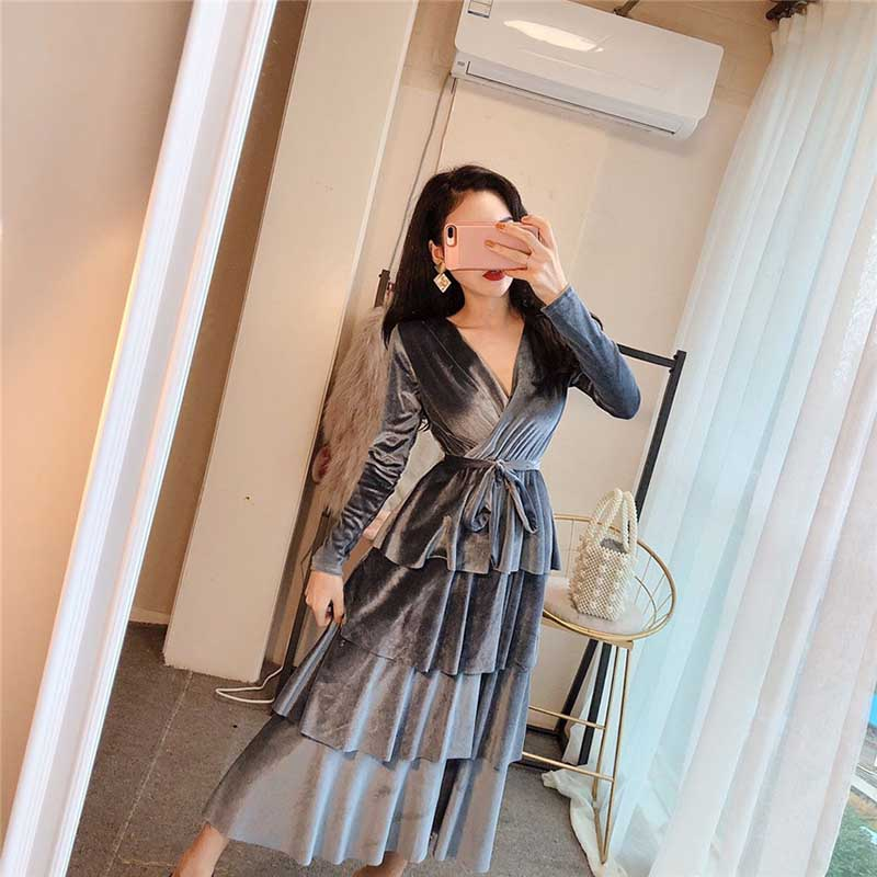 2019 New Spring Fashion Nova Women Dresses Long Sleeve A-Line Gray Black Velvet V Neck Long Multi-layer Wrap Dresses For Lady  a-line
