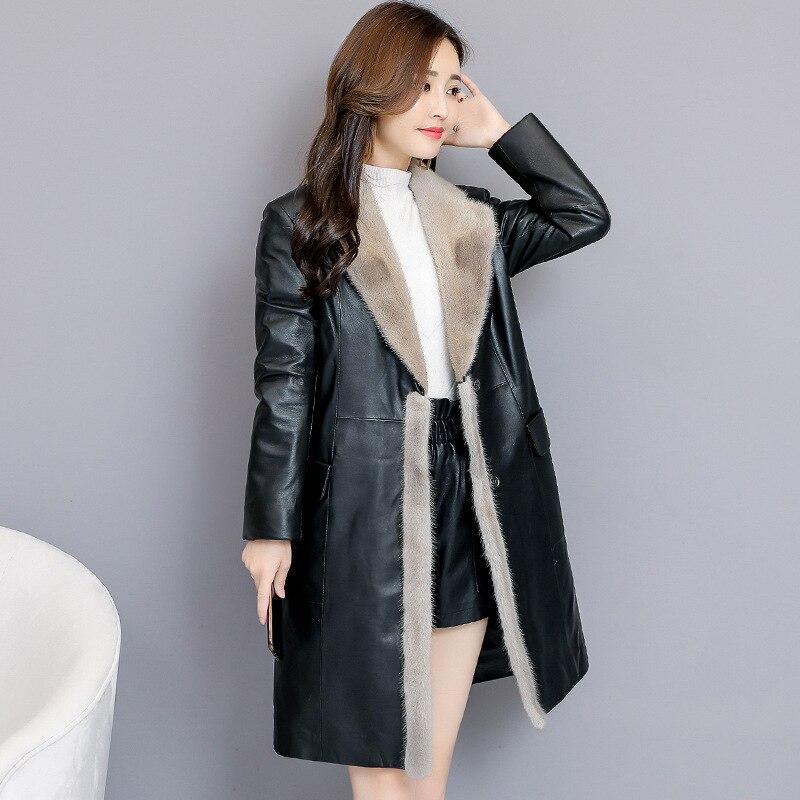 Col Cuir G435 Femmes Vison Chaud De Fourrure En Femme Plus Manteau Faux Mince Mouton Noir Veste Outwear La Peau D'hiver Longues Taille 0Pxq6RwZ