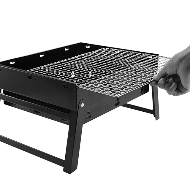 Mayitr Portable Charcoal Bbq Grill Outdoor Hibachi Picnic Rack Foldable Barbecue Stove For Camping Tool