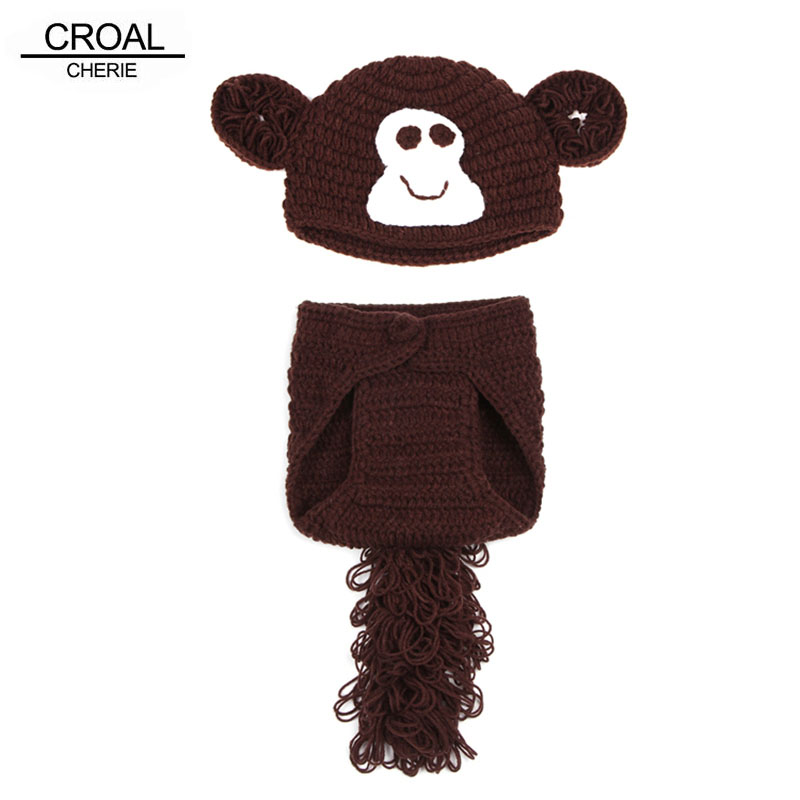 Monkey Baby Beanies Hats Newborn Photography Props Cotton Photos Toddler Handmade Baby Clothing Blanket Cute Baby Caps Brown