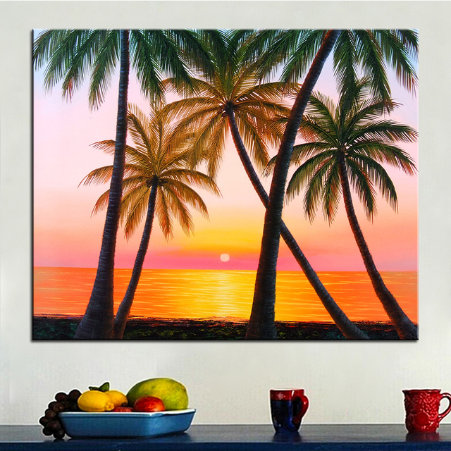 extra large wall painting of coconut tree home office decoration paint canvas prints no framed canvas
