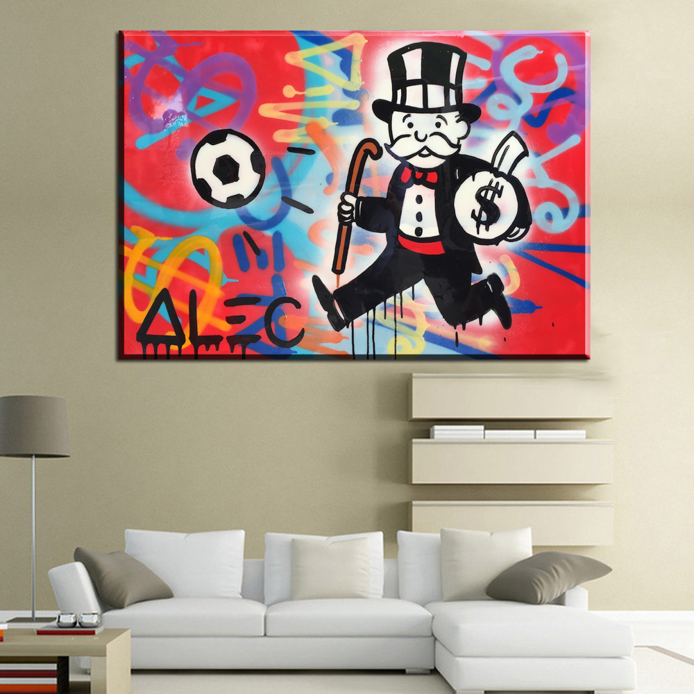 Room wall graffiti - Cm112 Alec Monopoly Spray The Wall Graffiti Wall Art Canvas Paintings Cuadros Decorativos Canvas Prints Paintings For Living Roo