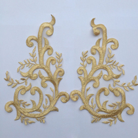 Gold 5PAIRS Venise Fabic Embroidery Motif Lace Flower Sewing Patches Applique DIY Clothing Wedding Dress Accessory