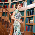 Fashion Improved Short Sleeve Long Split Vintage Chinese Cheongsam Long Qipao Dress Double Silk Slim Dress