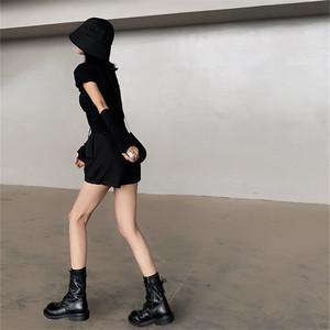 Image 5 - 2020 חדש חם שחור רך עור נשים קרסול מגפי תחרה עד מקרית שטוח נעלי אישה קצר נעלי רכיבה מגפי דירות