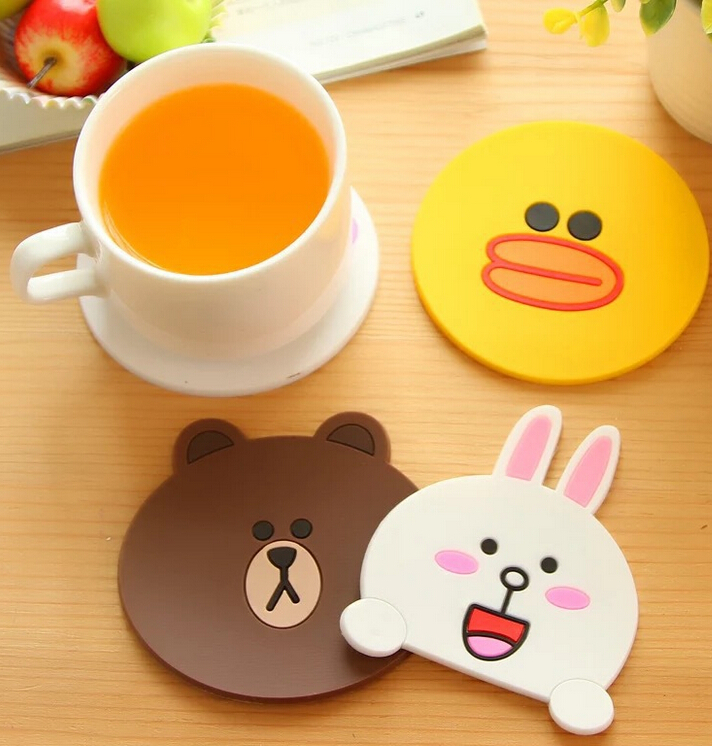100pcs new design round silicone coasters cute cartoon tea coasters cup mat home drink placemat tableware - Drink Coasters
