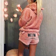 Women Girls Winter Thicken Pajamas Set Cute Cat Meow Embroidered Short Pants Long Sleeve Hooded Ears Sweatshirt Warm Sleepwear