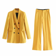 Fashion Women Spring Blazer Suit Double Breasted Coat Jacket High Waist Flare Pa