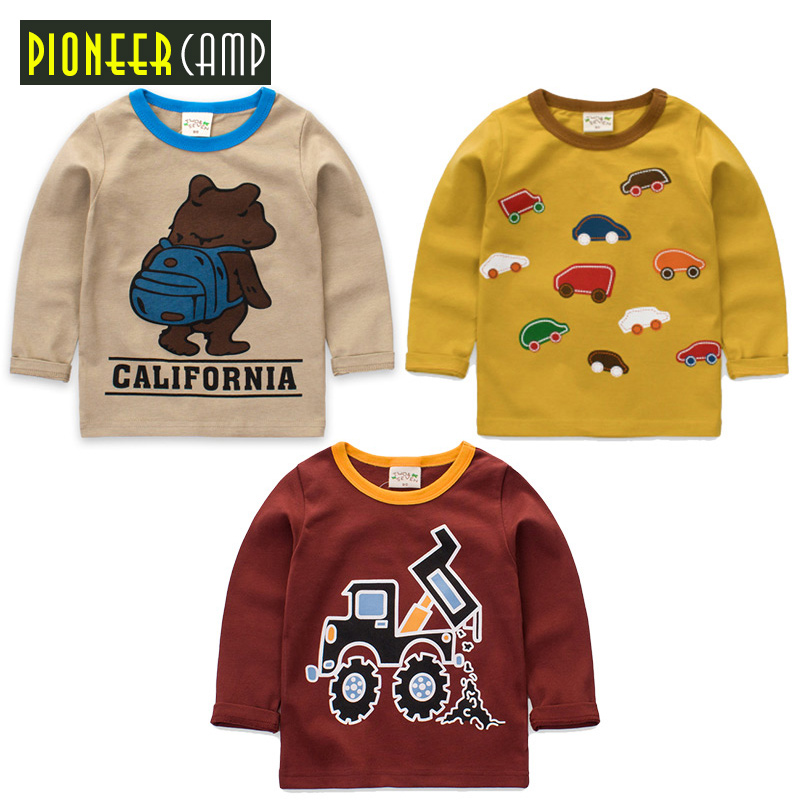 Pioneer Camp Kids 3pcs/lot New Spring Autumn Children T-shirt Long Sleeve Cartoon Cotton Knit Tops Baby Boys Girls Clothes pioneer cam t shirt