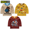 Pioneer camp niños 3 unids/lote nueva primavera otoño niños de manga larga t-shirt de dibujos animados camisetas de punto de algodón muchachas de los bebés ropa