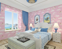 beibehang Classic blue sky and white clouds three dimensional nonwoven boy and girl bedroom classic papel de parede 3d wallpaper